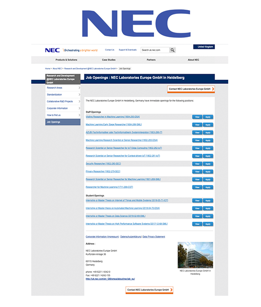 Software Engineer for the development of several internal tools at NEC
